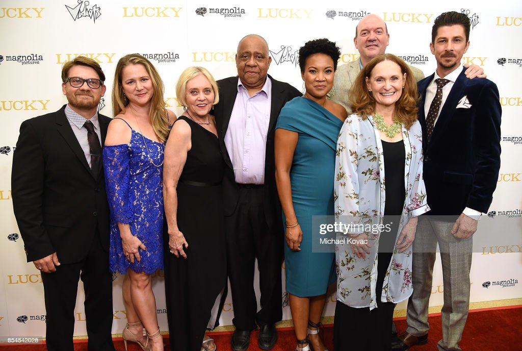 Writer Logan Sparks, guest, actors Pam Sparks, Barry Shabaka Henley, Yvonne Huff Lee, Beth Grant, director John Carroll Lynch, and writer Drago Sumonja attend the Los Angeles premiere of 'Lucky' at Linwood Dunn Theater on September 26, 2017 in Los Angeles, California.