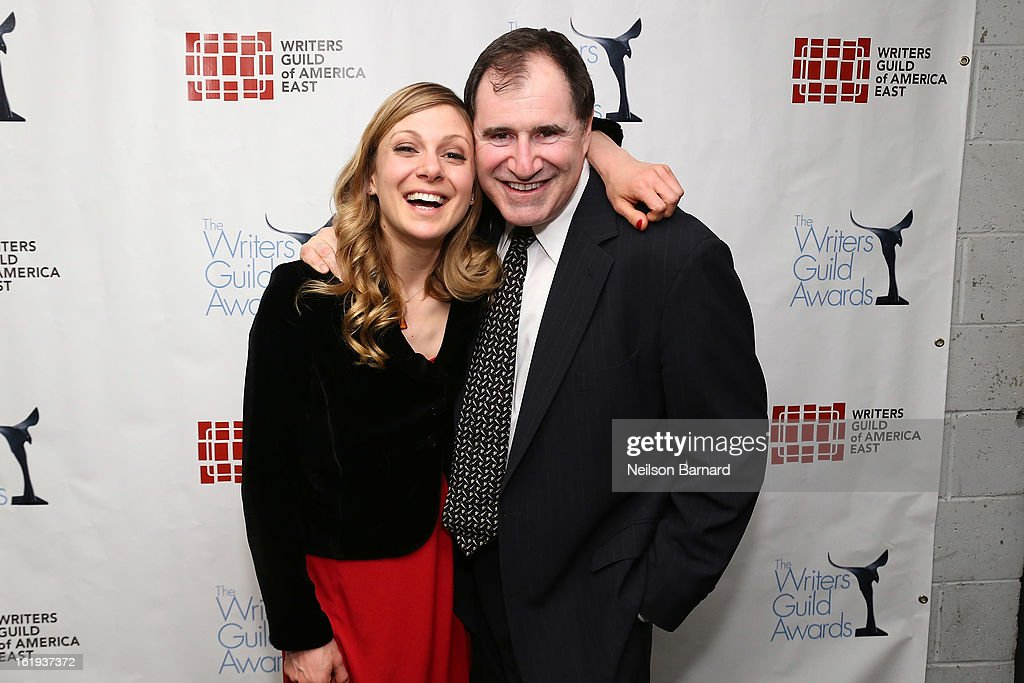Writer Lucy Alibar and actor Richard Kind pose backstage at the 65th annual Writers Guild East Coast Awards at B.B. King Blues Club & Grill on February 17, 2013 in New York City.