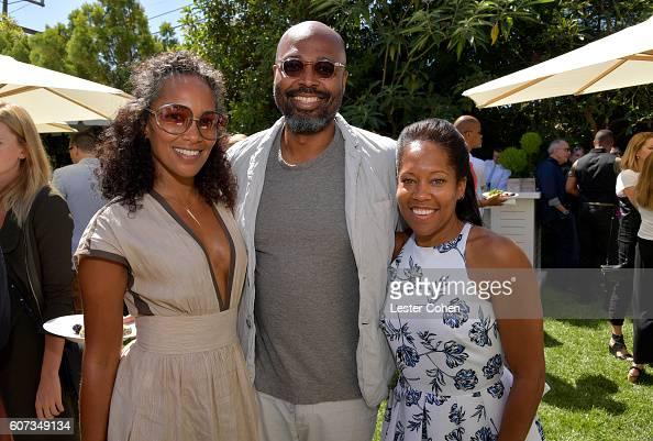 Writer Mara Brock Akil director Salim Akil and actress Regina King at the ICM Partners PreEmmy Brunch on September 17 2016 in Santa Monica California