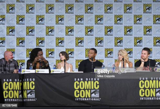Writer Marc Guggenheim actors Echo Kellum Willa Holland David Ramsey Emily Bett Rickards and Stephen Amell attend the 'Arrow' Video Presentation And...