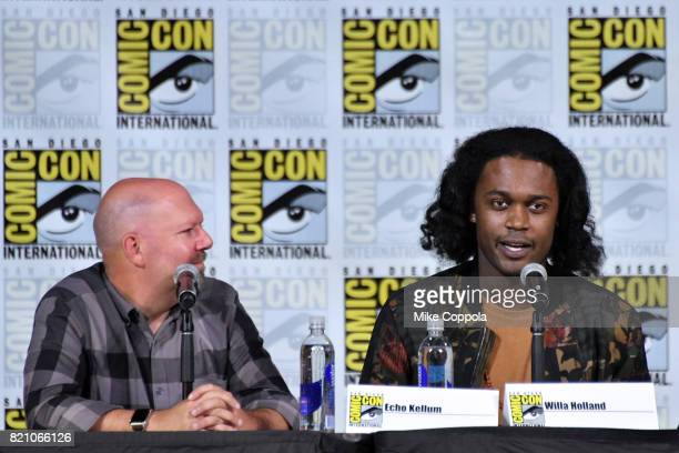 Writer Marc Guggenheim and actor Echo Kellum attend the 'Arrow' Video Presentation And QA during ComicCon International 2017 at San Diego Convention...