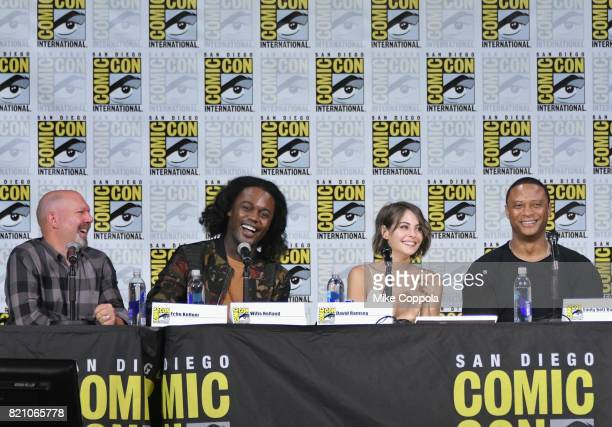 Writer Marc Guggenheim and actors Echo Kellum Willa Holland and David Ramsey attend the 'Arrow' Video Presentation And QA during ComicCon...