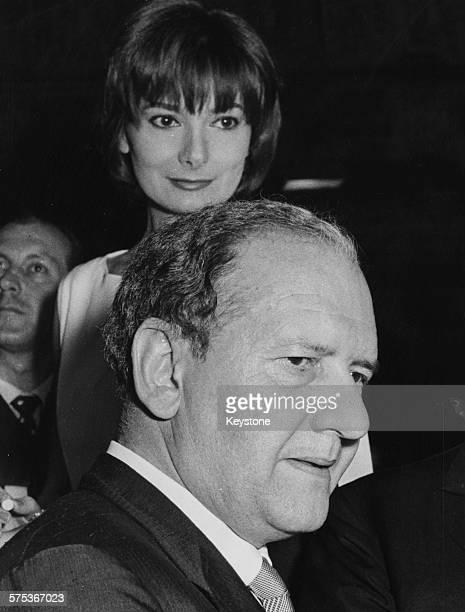 Writer Mario Tobino and actress Rossella Falk pictured after he won the Premio Strega for the film 'Il Clandestino' in Rome July 1962