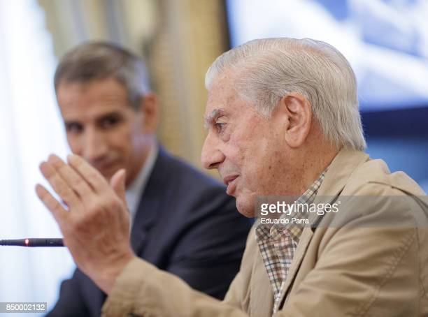 Writer Mario Vargas Llosa and Ruben Gallo attend the 'Conversacion en Princeton' press conference at Casa de America on September 20 2017 in Madrid...