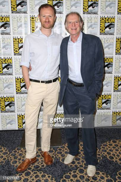 Writer Mark Gatiss and actor David Bradley pose during the 'An Adventure in Space and Time' press line during day 4 of ComicCon International on July...