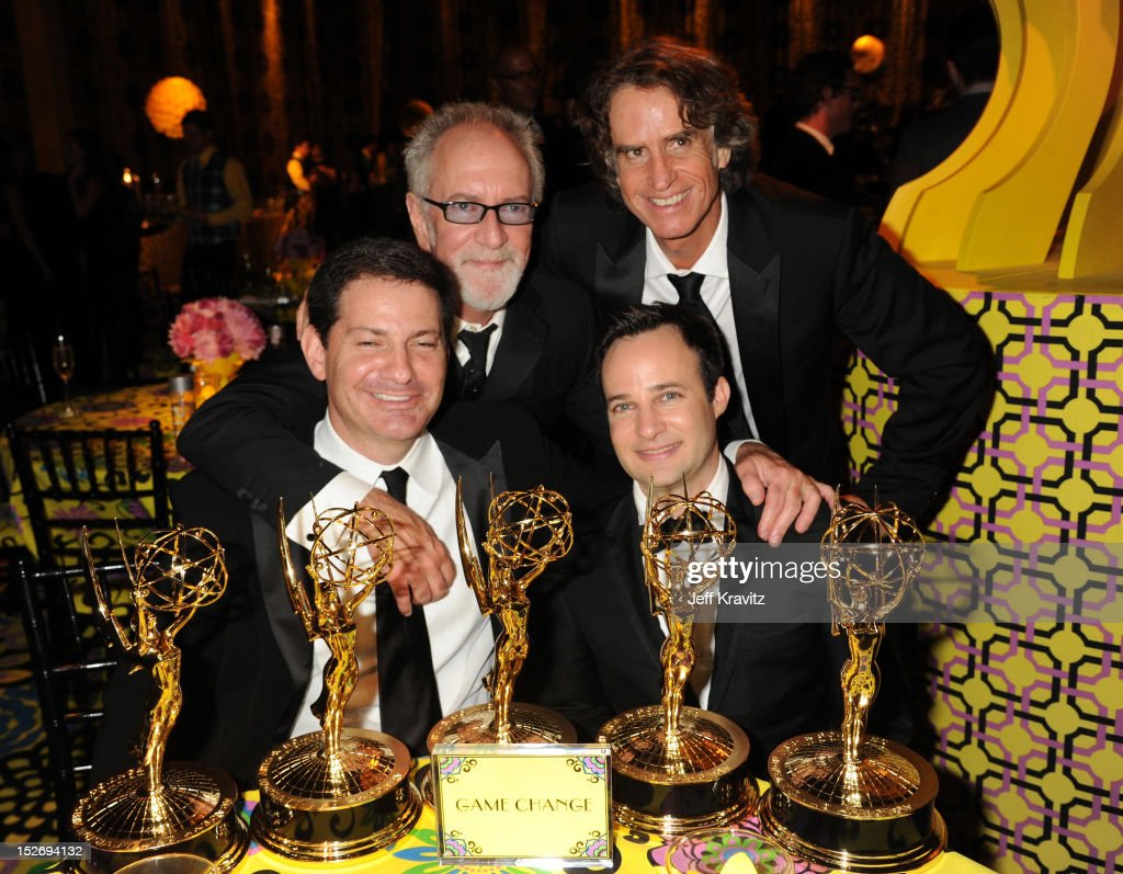 Writer Mark Halperin, producer Gary Goetzman, director Jay Roach, and writer Danny Strong attend HBO's Official Emmy After Party at The Plaza at the Pacific Design Center on September 23, 2012 in Los Angeles, California.