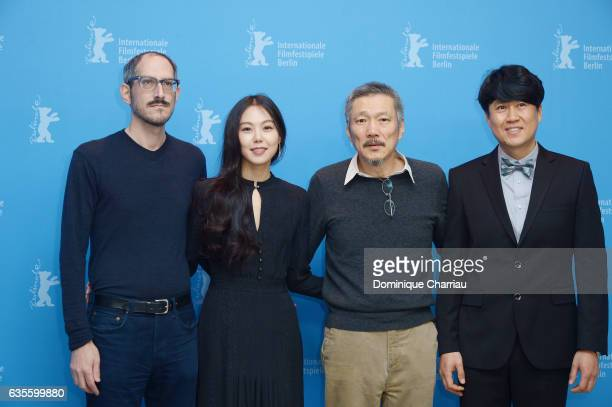 Writer Mark Peranson actress Kim Minhee director Hong Sangsoo and director of photography Park HongYeol attend the 'On the Beach at Night Alone'...