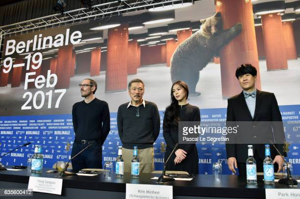 Writer Mark Peranson director Hong Sangsoo actress Kim Minhee and director of photography Park HongYeol attend the 'On the Beach at Night Alone'...