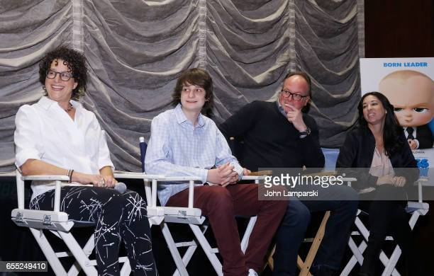 Writer Marla Frazee Miles Bakshi Director Tom McGrath and Melissa Musen Gerstein attend Mamarazzi screening Of 'The Boss Baby'at Dolby 88 Theater on...