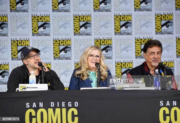 Writer Matt Selman actors Nancy Cartwright and Joe Mantegna attend 'The Simpsons' panel during ComicCon International 2017 at San Diego Convention...