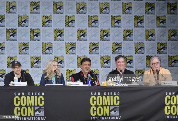 Writer Matt Selman actors Nancy Cartwright and Joe Mantegna producer Al Jean and writer/producer Matt Groening attend 'The Simpsons' panel during...