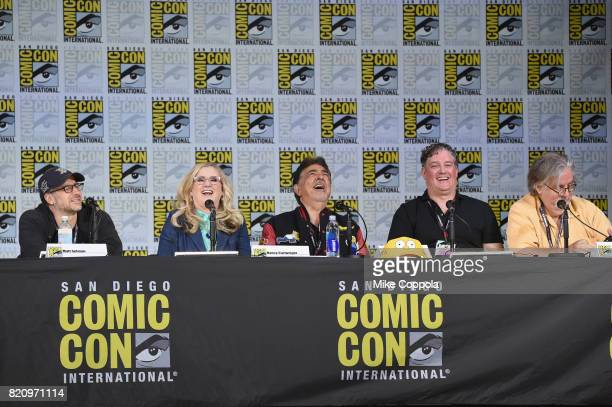 Writer Matt Selman actors Nancy Cartwright and Joe Mantegna producer Al Jean and writer/producer Matt Groening attend 'The Simpsons' panel during...