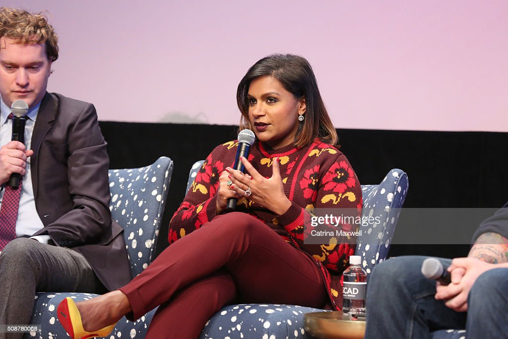 Writer Matt Warburton and Writer and Actor <a gi-track='captionPersonalityLinkClicked' href=/galleries/search?phrase=Mindy+Kaling&family=editorial&specificpeople=743884 ng-click='$event.stopPropagation()'>Mindy Kaling</a> speak at 'The Mindy Project' event during aTVfest 2016 presented by SCAD on February 6, 2016 in Atlanta, Georgia.
