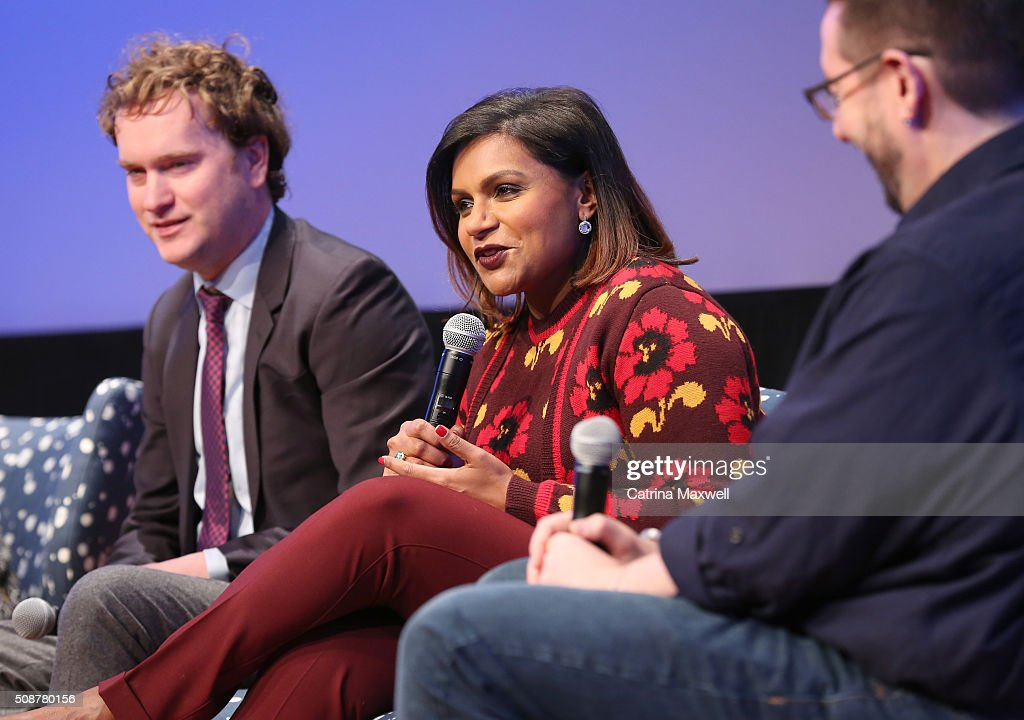 Writer Matt Warburton, Writer and Actor <a gi-track='captionPersonalityLinkClicked' href=/galleries/search?phrase=Mindy+Kaling&family=editorial&specificpeople=743884 ng-click='$event.stopPropagation()'>Mindy Kaling</a>, and TV Guide Senior Writer Damian Holbrook speak at 'The Mindy Project' event during aTVfest 2016 presented by SCAD on February 6, 2016 in Atlanta, Georgia.