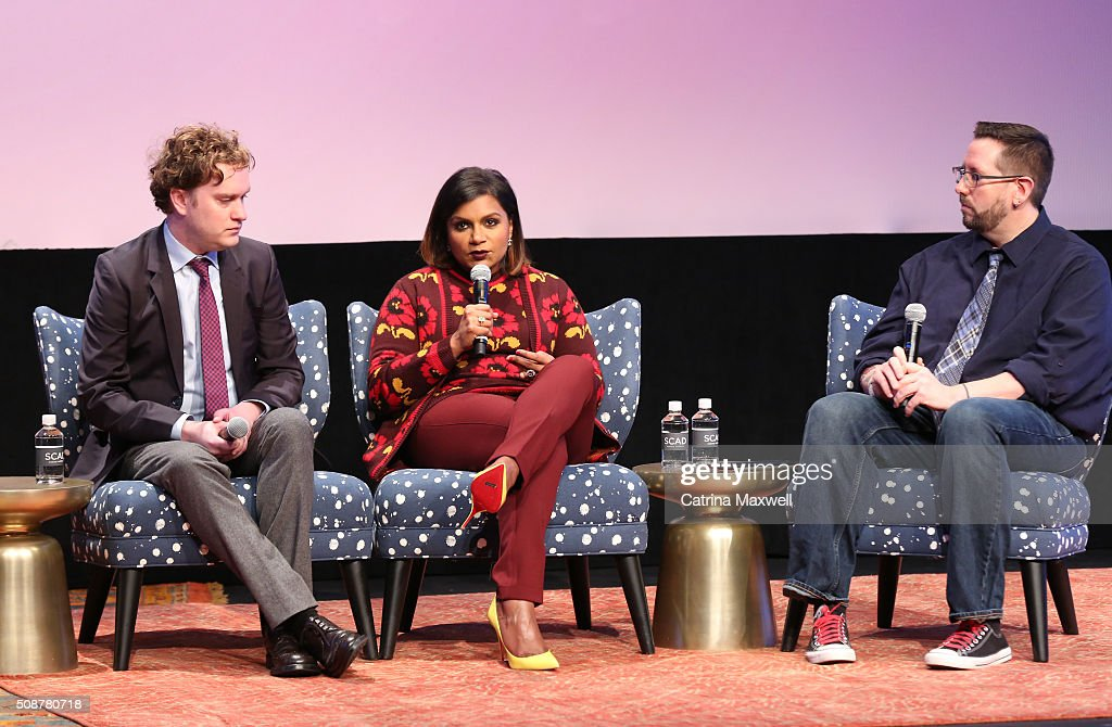 Writer Matt Warburton, Writer and Actor <a gi-track='captionPersonalityLinkClicked' href=/galleries/search?phrase=Mindy+Kaling&family=editorial&specificpeople=743884 ng-click='$event.stopPropagation()'>Mindy Kaling</a>, and TV Guide's Senior Writer Damion Holbrook speak at 'The Mindy Project' event during aTVfest 2016 presented by SCAD on February 6, 2016 in Atlanta, Georgia.