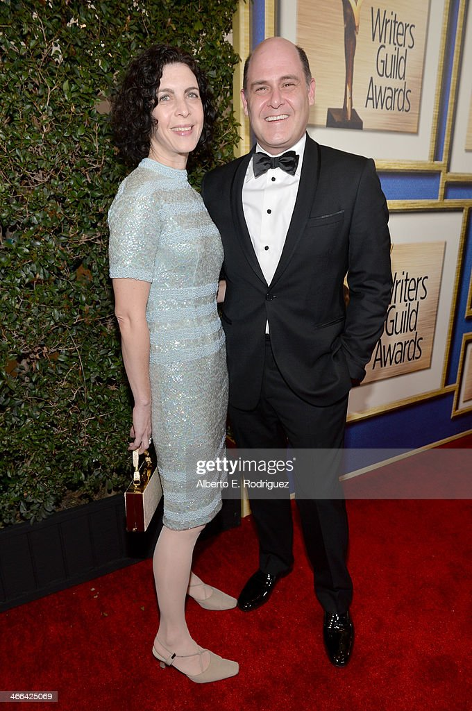 Writer <a gi-track='captionPersonalityLinkClicked' href=/galleries/search?phrase=Matthew+Weiner&family=editorial&specificpeople=4148376 ng-click='$event.stopPropagation()'>Matthew Weiner</a> (R) and Linda Brettler attend the 2014 Writers Guild Awards L.A. Ceremony at J.W. Marriott at L.A. Live on February 1, 2014 in Los Angeles, California.