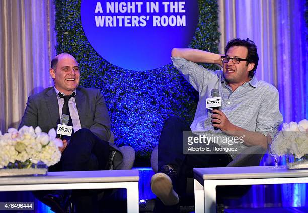 Writer Matthew Weiner of 'Mad Men' and Andrew Kreisberg of 'The Flash' speak at Variety's A Night In The Writers' Room at the Four Seasons on June 9...