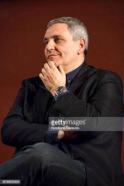 Writer Maurizio De Giovanni attends the reading for his novel 'Pane Per I Bastardi Di Pizzofalcone' at the Noir In Festival on December 14 2016 in...