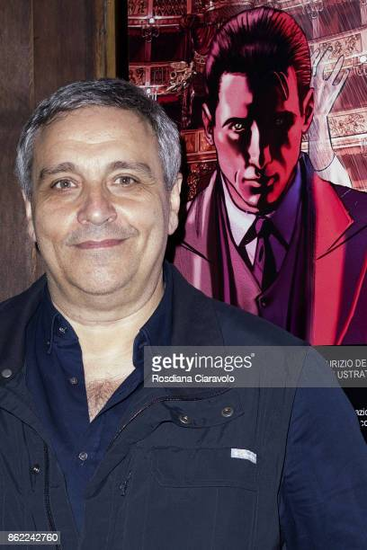 Writer Maurizio De Giovanni poses during the presentation of Graphic Novel based on Commissario Ricciardi Novel Series on October 16 2017 in Milan...