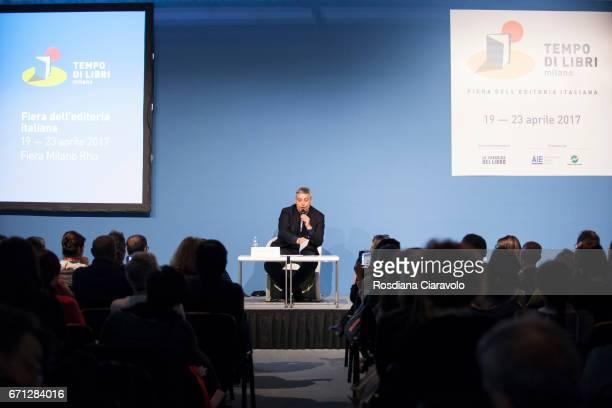 Writer Maurizio De Giovanni Reads 'A Livella by Antonio De Curtis aka Toto ' during the Tempo Di Libri Book Show on April 21 2017 in Milan Italy