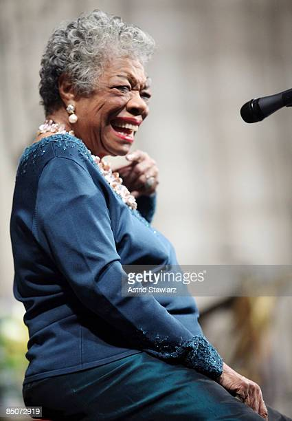 Writer Maya Angelou attends the memorial celebration for Odetta at Riverside Church on February 24 2009 in New York City