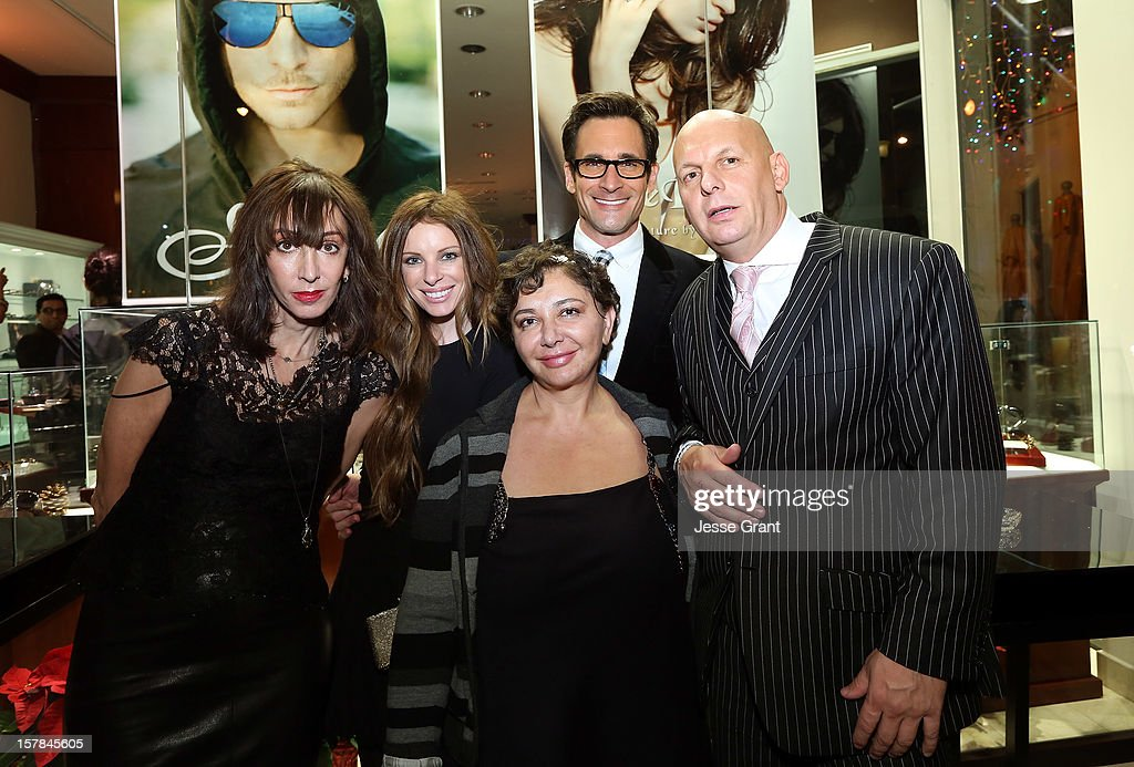 Writer Merle Ginsberg, stylist Joey Tierney, Sama eyewear designer Sheila Vance, television personality Lawrence Zarian and The Eye Gallery LA owner Pierre Keyser attend the Grand Opening of The Eye Gallery In Los Angeles on December 6, 2012 in Los Angeles, California.