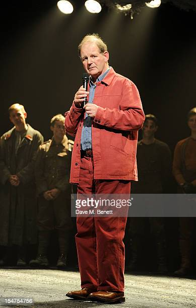 Writer Michael Morpurgo speaks during the 5th Anniversary Performance of 'War Horse' at The New London Theatre Drury Lane on October 25 2012 in...