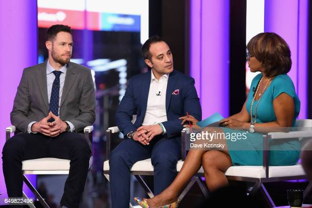 NYT writer Michael Schwirtz lawyer Paul Prestia and Gayle King speak onstage during TIME AND PUNISHMENT A Town Hall Discussion with JAY Z and Harvey...