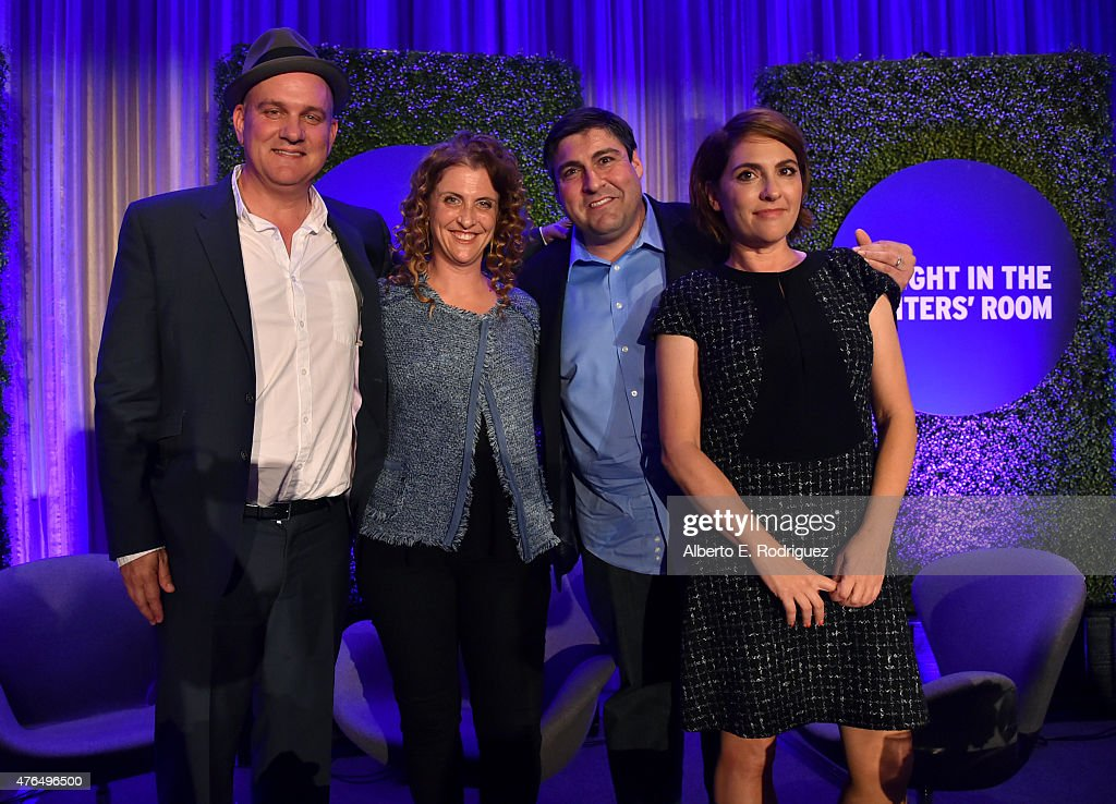 Writer Mike O'Malley of 'Survivors Remorse', writer Jennie Snyder Urman of 'Jane the Virgin', writer Adam F. Goldberg of 'The Goldbergs and writer Jill Soloway of 'Transparent' attend Variety's A Night In The Writers' Room at the Four Seasons on June 9, 2015 in Los Angeles, California.
