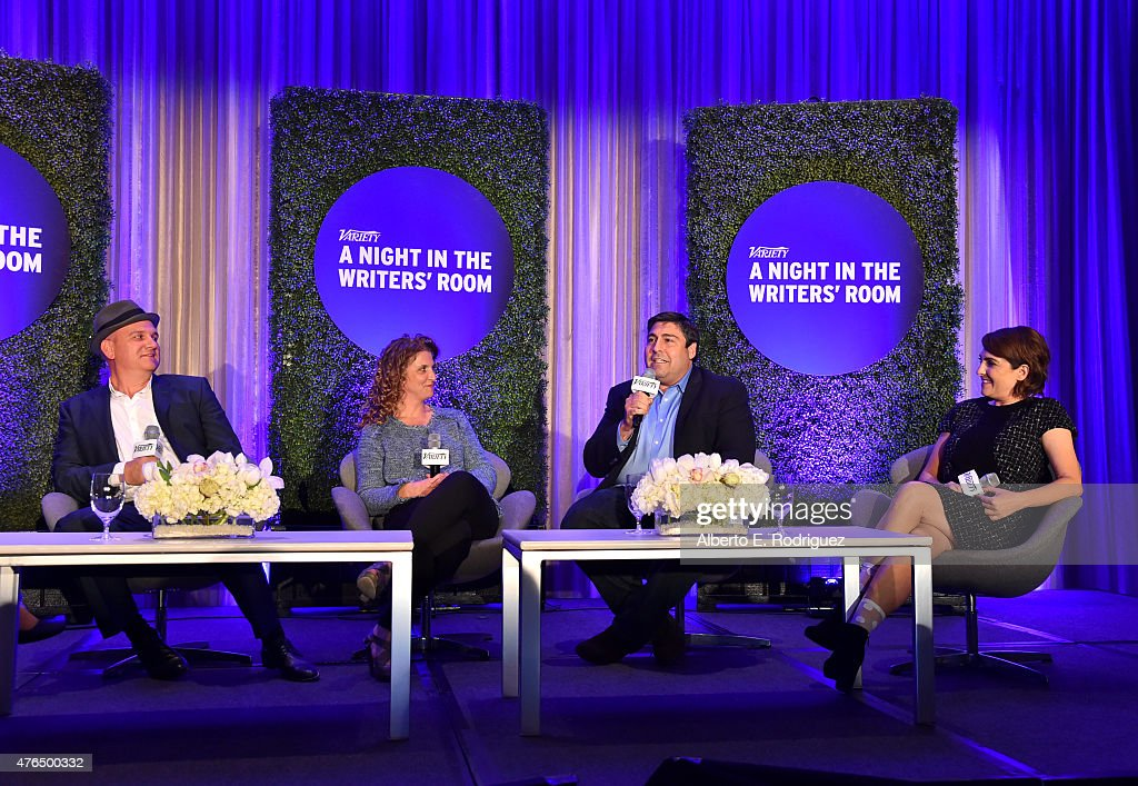 Writer Mike O'Malley of 'Survivors Remorse', writer Jennie Snyder Urman of 'Jane the Virgin', writer Adam F. Goldberg of 'The Goldbergs' and writer Jill Soloway of 'Transparent' speaks Variety's A Night In The Writers' Room at the Four Seasons on June 9, 2015 in Los Angeles, California.