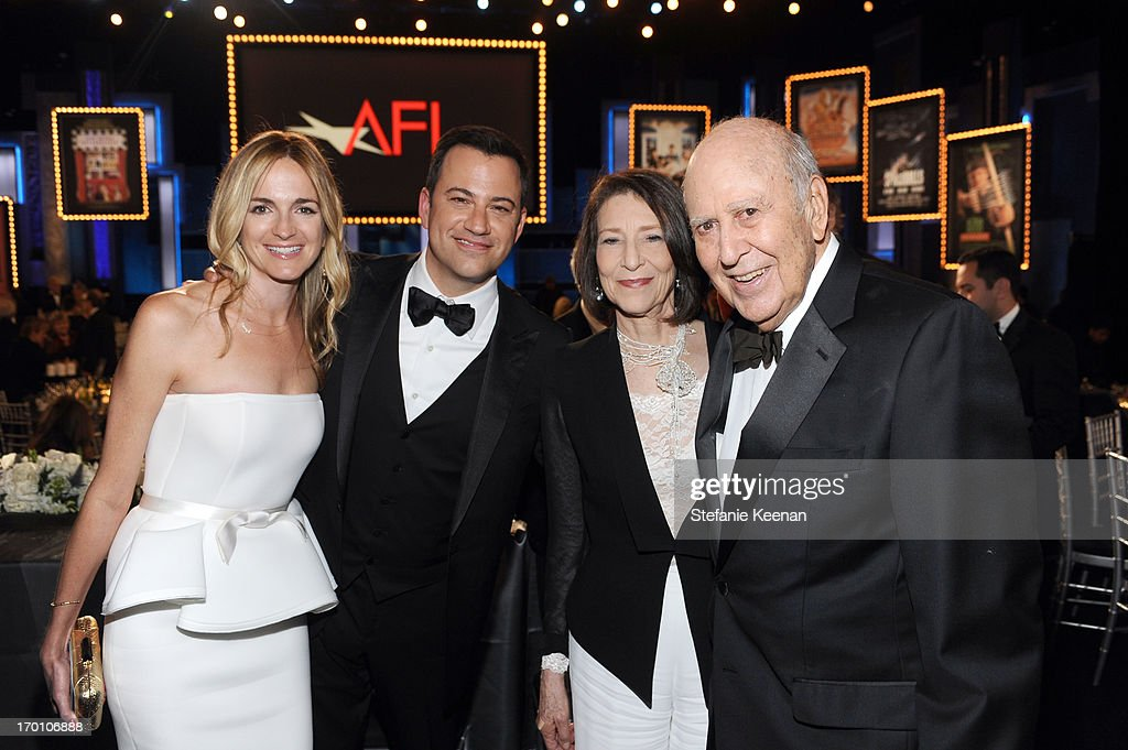 Writer Molly McNearney, TV personality Jimmy Kimmel, actress Estelle Reiner, and actor Carl Reiner attend AFI's 41st Life Achievement Award Tribute to Mel Brooks at Dolby Theatre on June 6, 2013 in Hollywood, California.