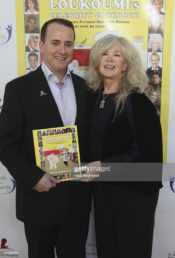 Writer Nick Katsoris and actress <a gi-track='captionPersonalityLinkClicked' href=/galleries/search?phrase=Connie+Stevens&family=editorial&specificpeople=217812 ng-click='$event.stopPropagation()'>Connie Stevens</a> attend 'Loukoumi's Celebrity Cookbook' - Los Angeles Premiere Party at Treehouse Social Club on December 4, 2011 in Los Angeles, California.