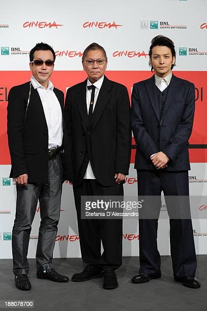 Writer Noboru Takahashi director Takashi Miike and actor Toma Ikuta attends the 'The Mole Song' Photocall during the 8th Rome Film Festival at the...
