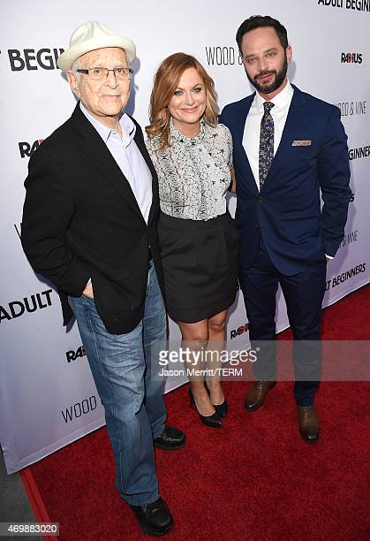 Writer Norman Lear actress Amy Poehler and actor Nick kroll attend the premiere of 'Adult Beginners' at ArcLight Hollywood on April 15 2015 in...