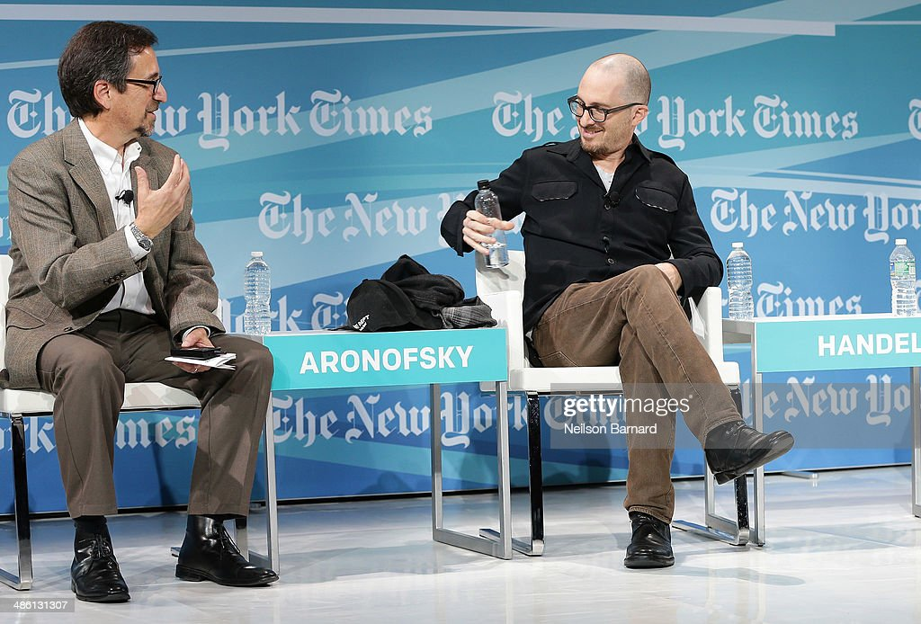 Writer of Dot Earth Blog at The New York Times Andrew Revkin (L) and filmmaker <a gi-track='captionPersonalityLinkClicked' href=/galleries/search?phrase=Darren+Aronofsky&family=editorial&specificpeople=841696 ng-click='$event.stopPropagation()'>Darren Aronofsky</a> participate in a panel discussion at the New York Times Cities for Tomorrow Conference on April 22, 2014 in New York City.