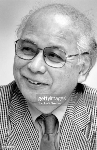 Writer Otohiko Kaga speaks during the Asahi Shimbun interview on April 14 1997 in Tokyo Japan