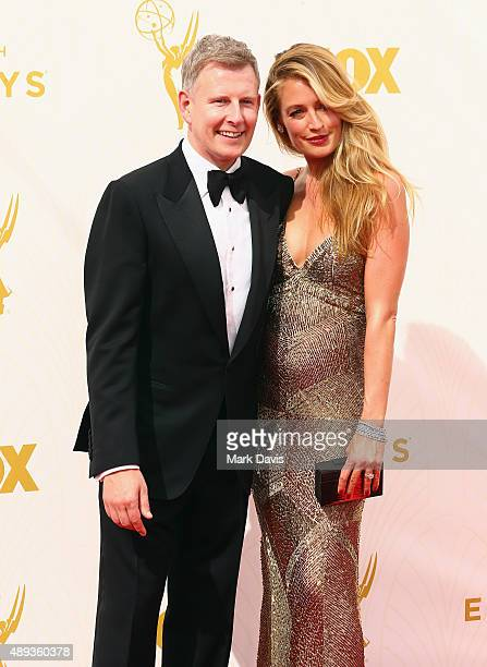 Writer Patrick Kielty and TV personality Cat Deeley attend the 67th Annual Primetime Emmy Awards at Microsoft Theater on September 20 2015 in Los...