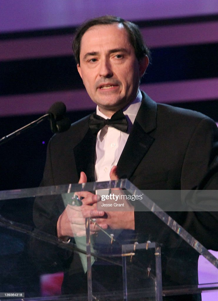 Writer Patrick M. Verrone accepts the Morgan Cox Award onstage during the 2012 Writers Guild Awards at the Hollywood Palladium on February 19, 2012 in Los Angeles, California.
