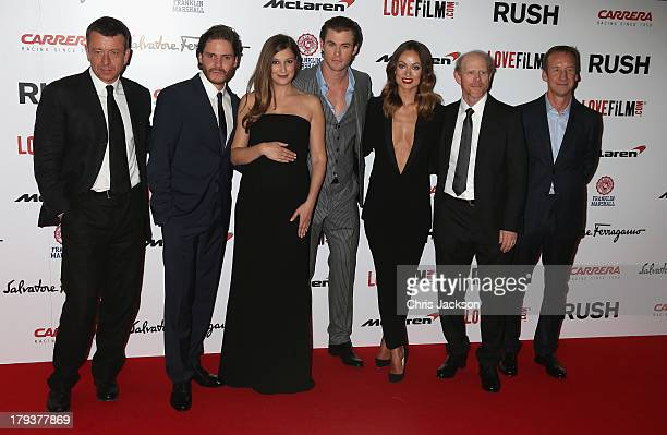 Writer Peter Morgan Daniel Bruhl Alexandra Maria Lara Chris Hemsworth Olivia Wilde director Ron Howard and producer Andrew Eaton attends the Rush...