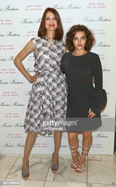 Writer Plum Sykes and actress Camren Bicondova attends Plum's 'Party Girls Die In Pearls' book launch celebration at Brooks Brothers on May 9 2017 in...