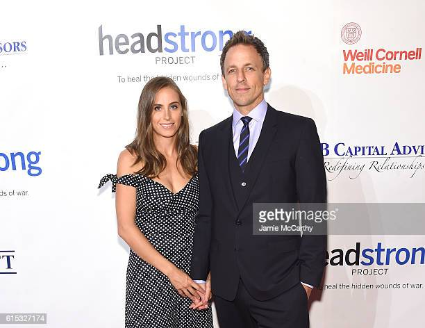 Writer presenter Seth Meyers and Alexi Ashe Meyers attend Headstrong Project Words Of War Gala at Pier 60 on October 17 2016 in New York City