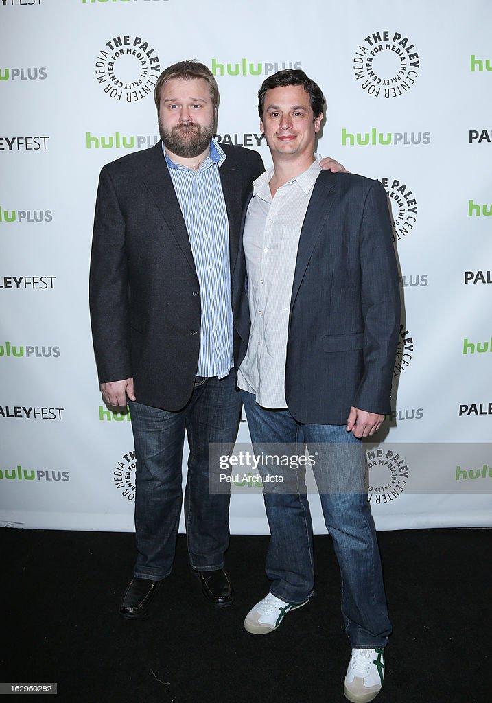 Writer / Producer <a gi-track='captionPersonalityLinkClicked' href=/galleries/search?phrase=Robert+Kirkman&family=editorial&specificpeople=3951162 ng-click='$event.stopPropagation()'>Robert Kirkman</a> (L) and Producer David Alpert (R) attend the 30th Annual PaleyFest featuring the cast of 'The Walking Dead' at Saban Theatre on March 1, 2013 in Beverly Hills, California.