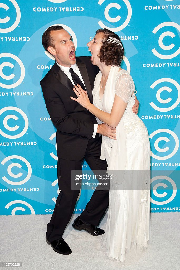 Writer Rich Blomquist (L) and actress <a gi-track='captionPersonalityLinkClicked' href=/galleries/search?phrase=Kristen+Schaal&family=editorial&specificpeople=2479209 ng-click='$event.stopPropagation()'>Kristen Schaal</a> attend the 2012 Primetime Emmy Awards Comedy Central Party at Cecconi's Restaurant on September 23, 2012 in Los Angeles, California.