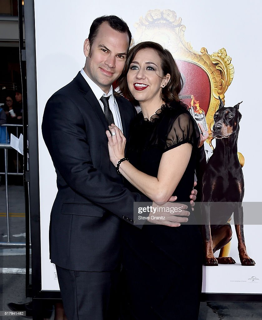 Writer Rich Blomquist and actress Kristen Schaal attend the premiere of USA Pictures' 'The Boss' at Regency Village Theatre on March 28 2016 in...