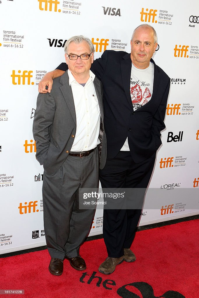 Writer Richard Nelson (L) and Director Roger Michell attend the 'Hyde Park On Hudson' premiere during the 2012 Toronto International Film Festival at Roy Thomson Hall on September 10, 2012 in Toronto, Canada.