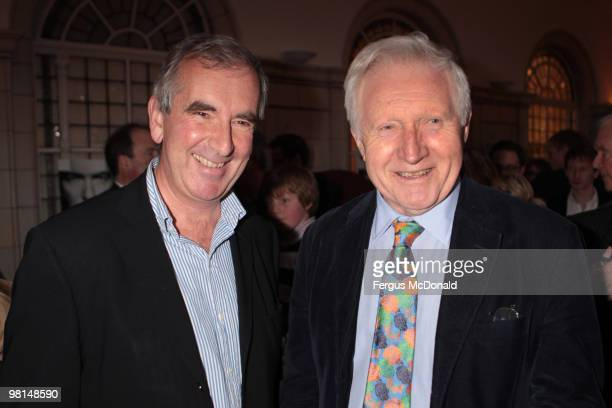 Writer Robert Harris and broadcaster David Dimbleby arrive at a VIP screening of The Ghost held at The Courthouse Hotel on March 30 2010 in London...