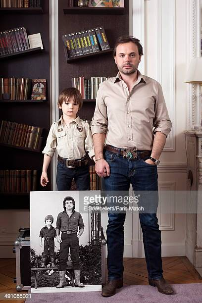 Writer Romain Sardou is photographed for Paris Match at home with his wife Francesca and his three children Alienor VictorScott and Gabriel on May 1...