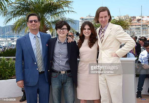 Writer Roman Coppola actor Jared Gilman actress Kara Hayward and Director Wes Anderson attend the 'Moonrise Kingdom' Photocall during the 65th Annual...