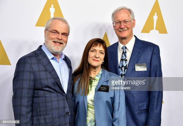 Writer Ron Clements producer Osnat Shurer and writer John Musker attend the 89th Annual Academy Awards Nominee Luncheon at The Beverly Hilton Hotel...