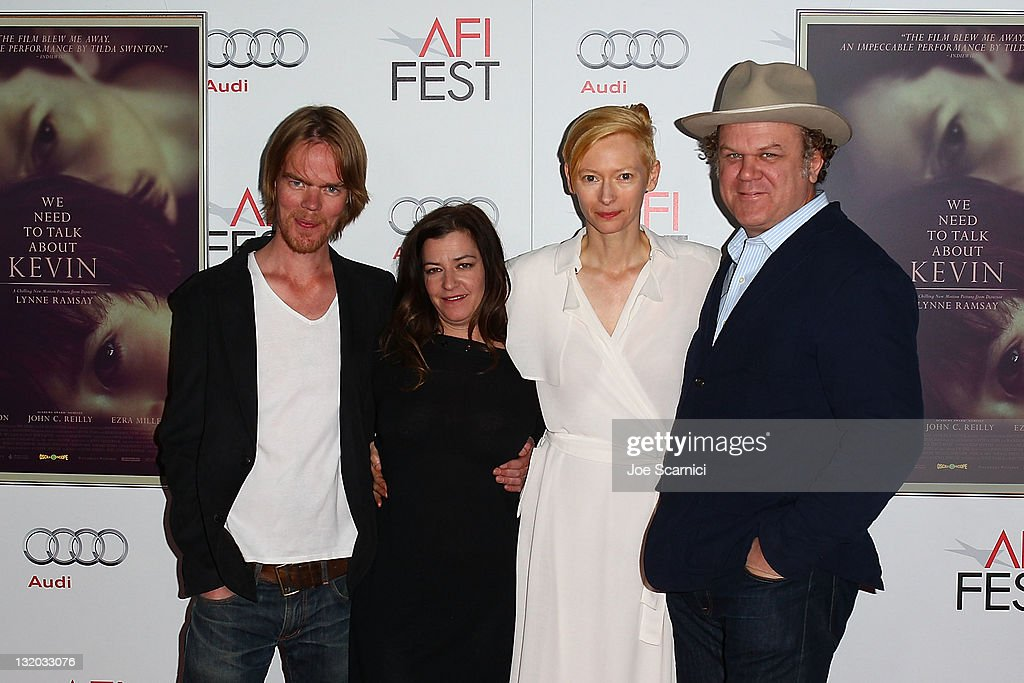 Writer Rory Kinnear Director Lynne Ramsay actress Tilda Swinton and actor John C Reilly arrive at 'We Need To Talk About Kevin' Gala Screening during...